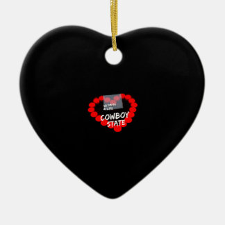 Candle Heart Design For The State of Wyoming Ceramic Ornament