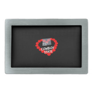 Candle Heart Design For The State of Wyoming Rectangular Belt Buckle