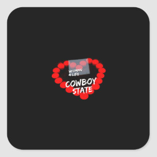 Candle Heart Design For The State of Wyoming Square Sticker