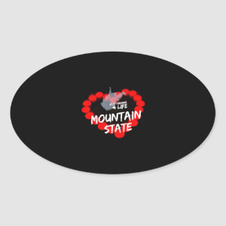 Candle Heart Design For West Virginia State Oval Sticker