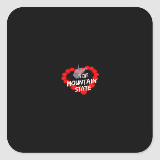 Candle Heart Design For West Virginia State Square Sticker