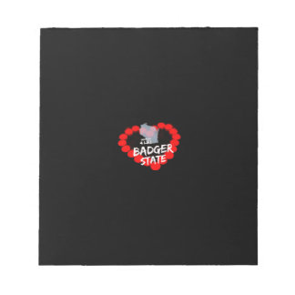 Candle Heart Design For Wisconsin State Notepad