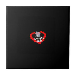 Candle Heart Design For Wisconsin State Small Square Tile