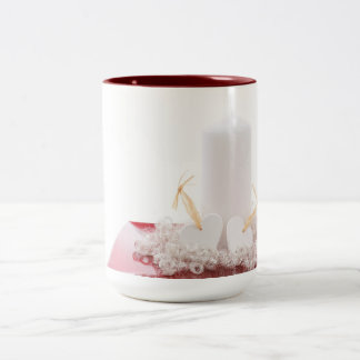 Candle & Hearts Two-Tone Coffee Mug