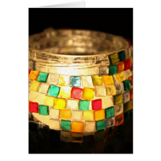 Candle in glass decorated jar card