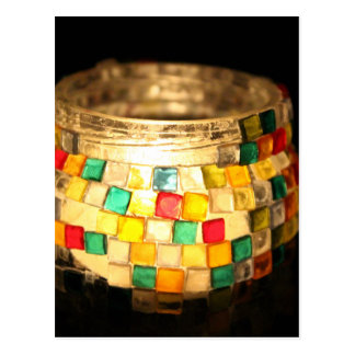 Candle in glass decorated jar post card