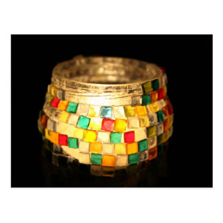 Candle in glass decorated jar postcard