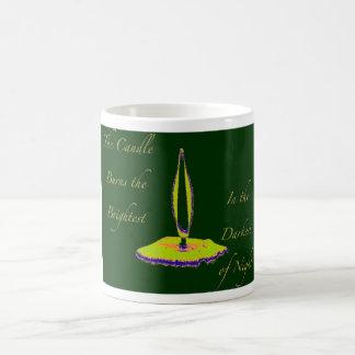 candle of hope- yellow/green basic white mug