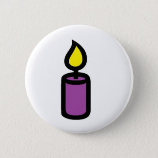 candle purple 6 cm round badge