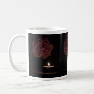 candle rose basic white mug