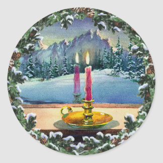 CANDLE & WREATH by SHARON SHARPE Classic Round Sticker