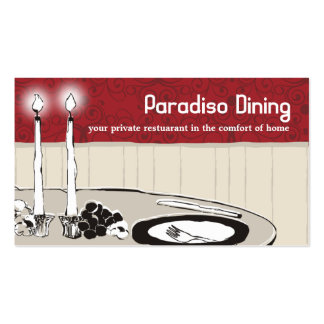 candlelight dinner plate chef catering business... business card templates
