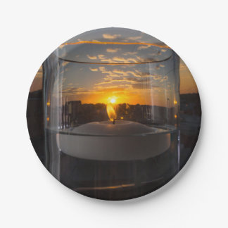Candlelight Sunset 7 Inch Paper Plate