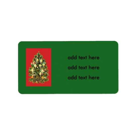Candlelit Christmas Tree Ornaments Garland Address Label