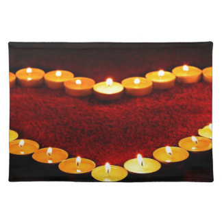 Candles Heart Flame Love Valentine Romance Fire Placemat