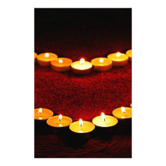 Candles Heart Flame Love Valentine Romance Fire Stationery