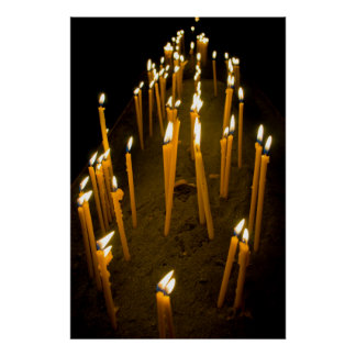 Candles lit in a church, Armenia Poster