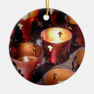 Candles of the Texas Missions Round Ceramic Decoration
