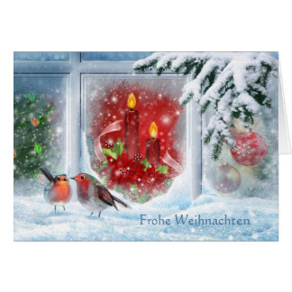 Candles, poinsettias, robins and German Christmas Greeting Card