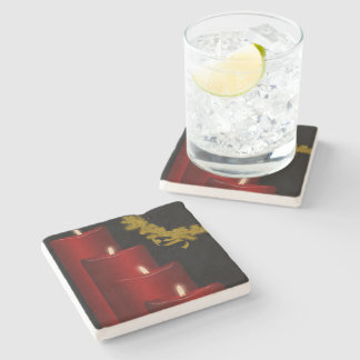 Candles,red Stone Coaster