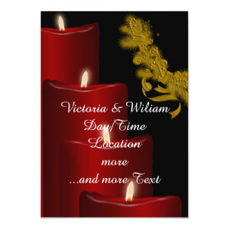 """Candles,red 5"""" X 7"""" Invitation Card"""
