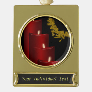 Candles,red Gold Plated Banner Ornament