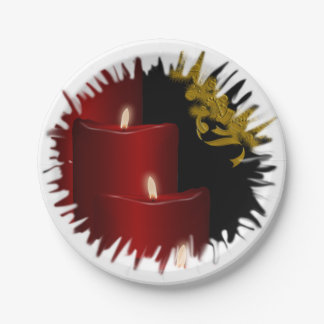 Candles,red 7 Inch Paper Plate