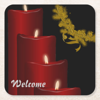 Candles,red Square Paper Coaster