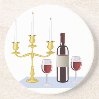 Candles & Wine Drink Coasters