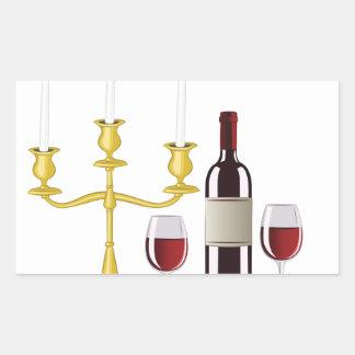 Candles & Wine Rectangular Sticker