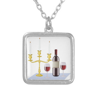 Candles & Wine Silver Plated Necklace