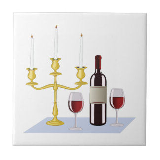 Candles & Wine Small Square Tile