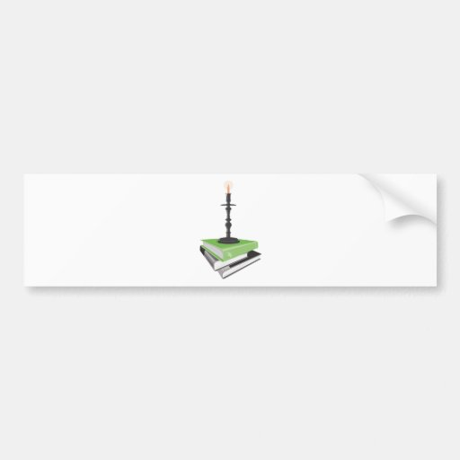 Candlestick holder on books bumper sticker