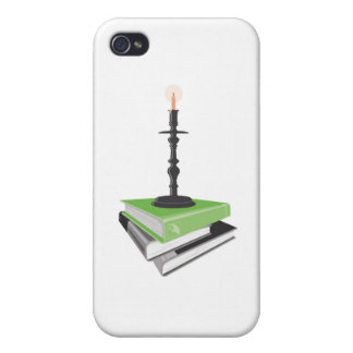 Candlestick holder on books iPhone 4 covers