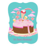 Candy and chocolate cake for birthday party 13 cm x 18 cm invitation card