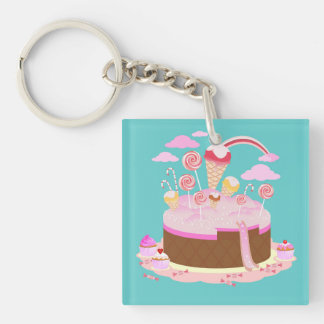 Candy and chocolate cake for birthday party Double-Sided square acrylic keychain