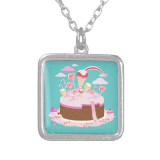 Candy and chocolate cake for birthday party square pendant necklace