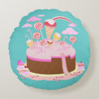 Candy and chocolate cake for birthday party round cushion