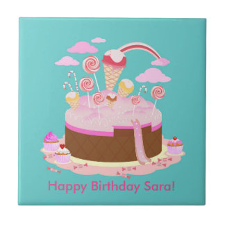 Candy and chocolate cake for birthday party small square tile