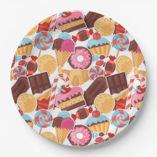 Candy and Pastries Palooza Seamless Pattern Paper Plate