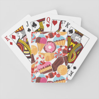 Candy and Pastries Palooza Seamless Pattern Playing Cards