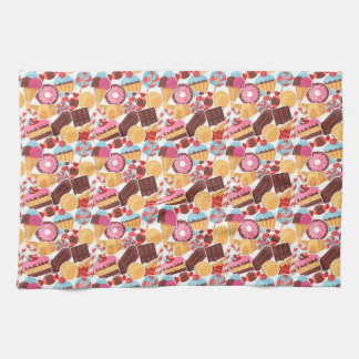 Candy and Pastries Palooza Seamless Pattern Tea Towel