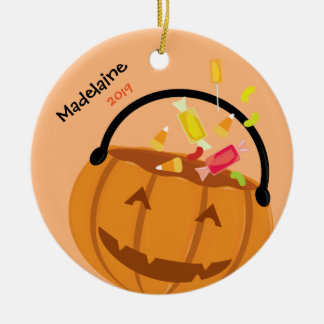 Candy and Smiling Pumpkin | Halloween Ornament