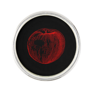 Candy Apple Red Letterpress Apple Lapel Pin