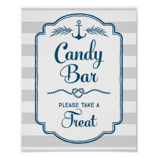 Candy Bar Baby Shower Sign Blue Nautical Stripes Poster