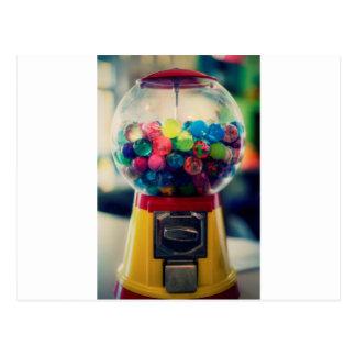 Candy bubblegum toy machine retro postcard
