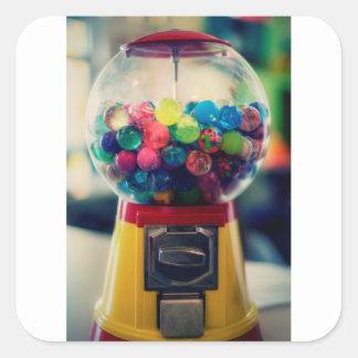 Candy bubblegum toy machine retro square sticker