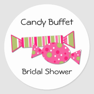 Candy Buffet Bridal Shower Envelope Seal Classic Round Sticker