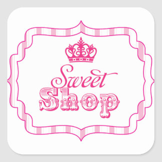 Candy Buffet Princess Party Favour Birthday Square Sticker
