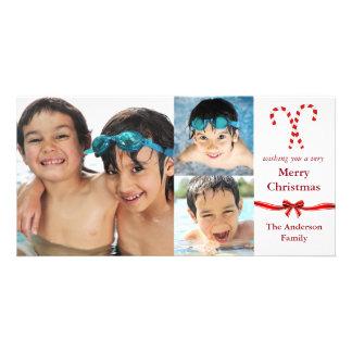 Candy Cane 3 Photos Christmas - Photo Card